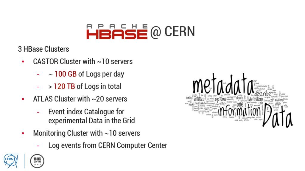 @ CERN 3 HBase Clusters ▪ CASTOR Cluster with ...