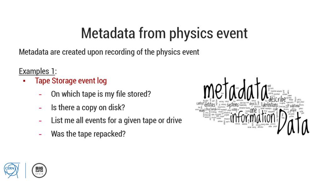 Metadata from physics event Metadata are create...