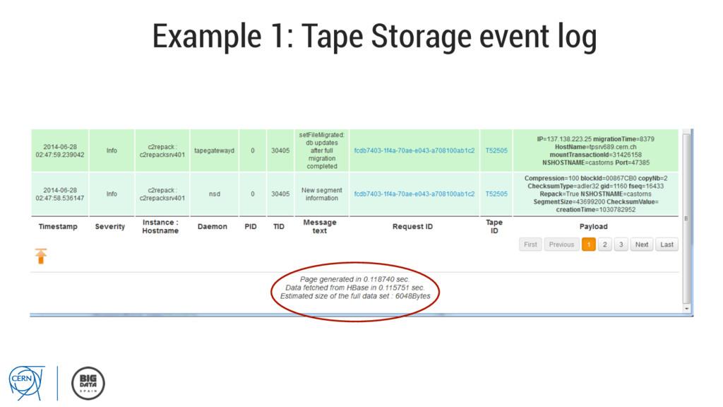 Example 1: Tape Storage event log