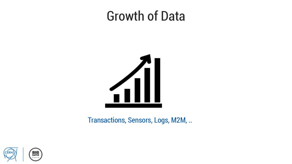 Growth of Data Transactions, Sensors, Logs, M2M...