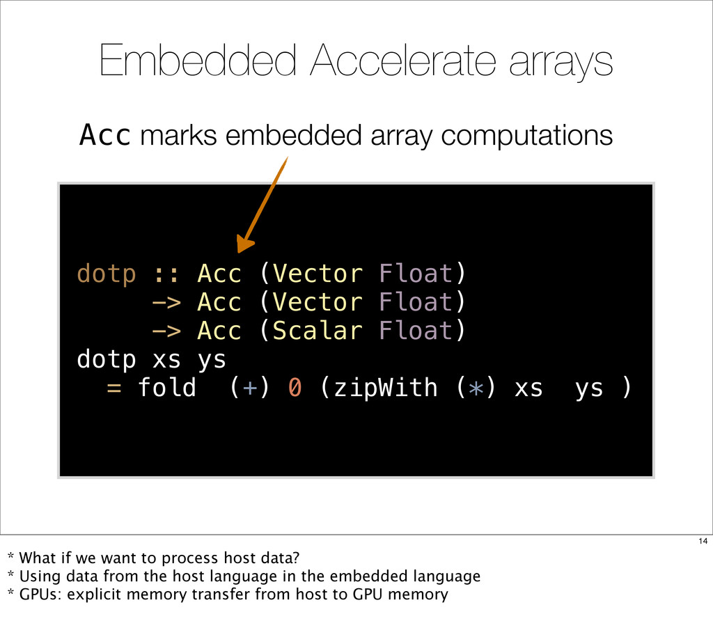 Acc marks embedded array computations Embedded ...