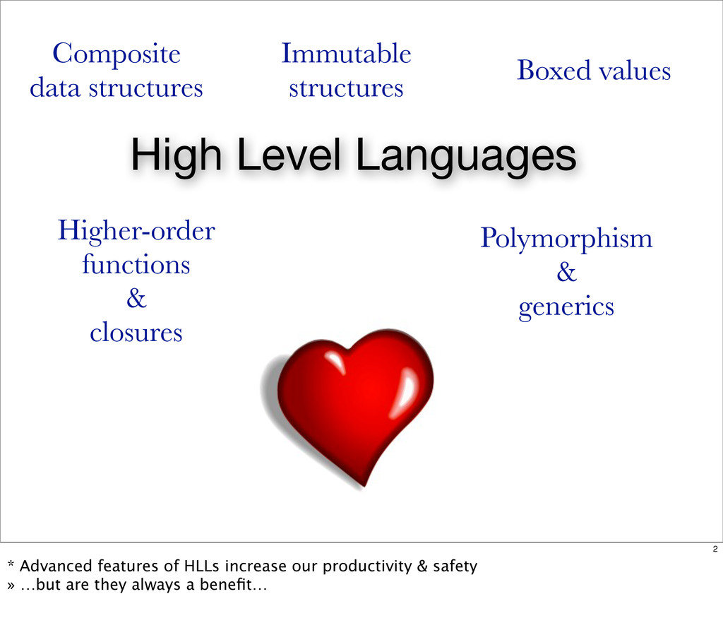 High Level Languages Boxed values Polymorphism ...