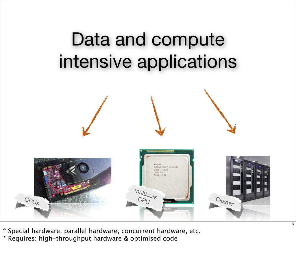 Data and compute intensive applications GPUs Cl...