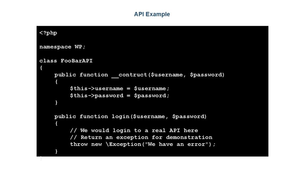 API Example <?php namespace WP; class FooBarAPI...