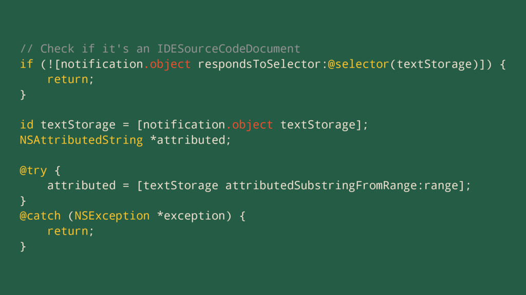 // Check if it's an IDESourceCodeDocument if (!...