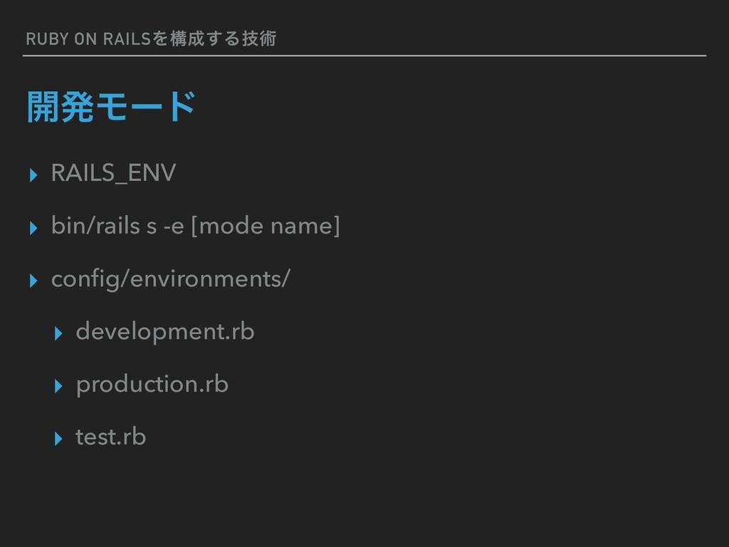RUBY ON RAILSΛߏ͢Δٕज़ ։ൃϞʔυ ▸ RAILS_ENV ▸ bin/ra...