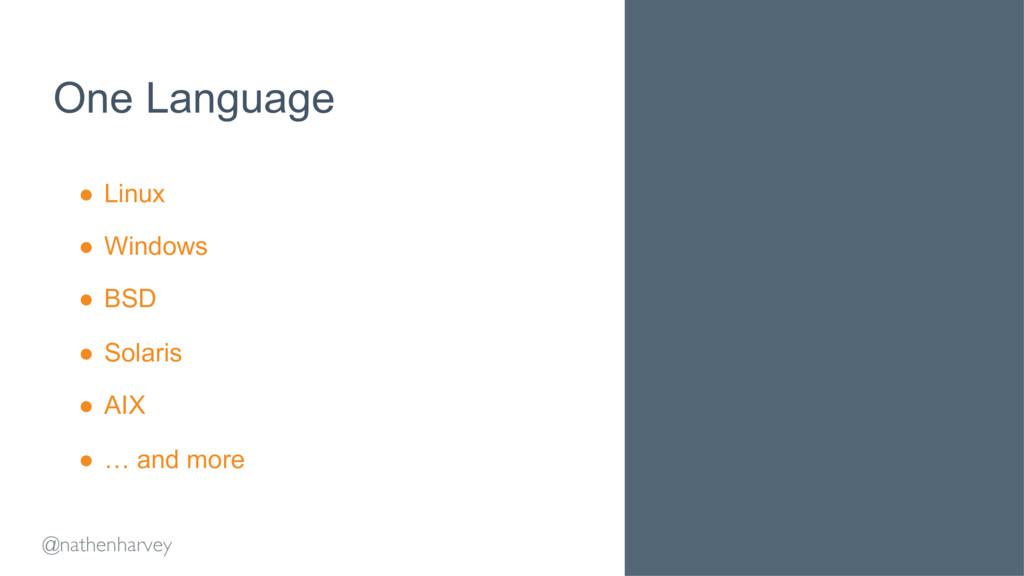 @nathenharvey One Language ● Linux ● Windows ...