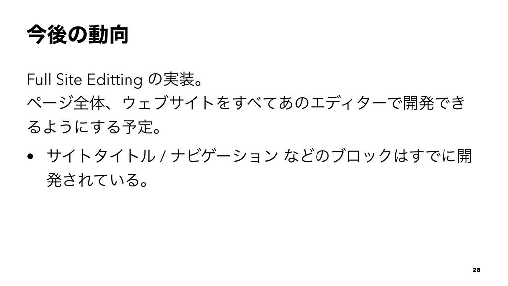 ࠓޙͷಈ Full Site Editting ͷ࣮ɻ ϖʔδશମɺΣϒαΠτΛͯ͋͢...
