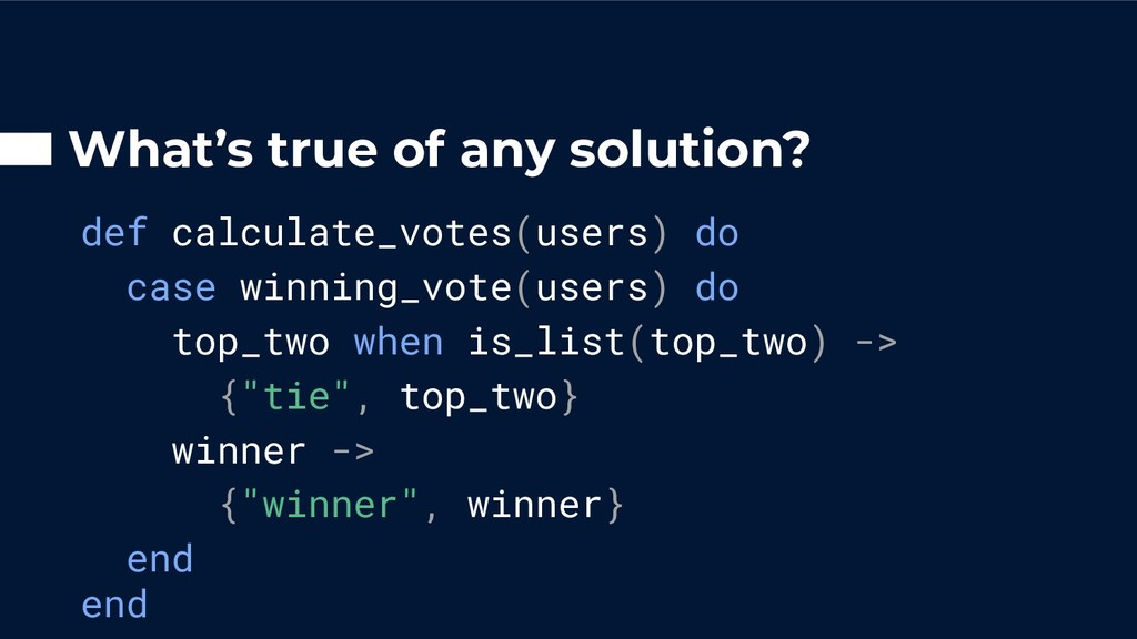 What's true of any solution? def calculate_vote...
