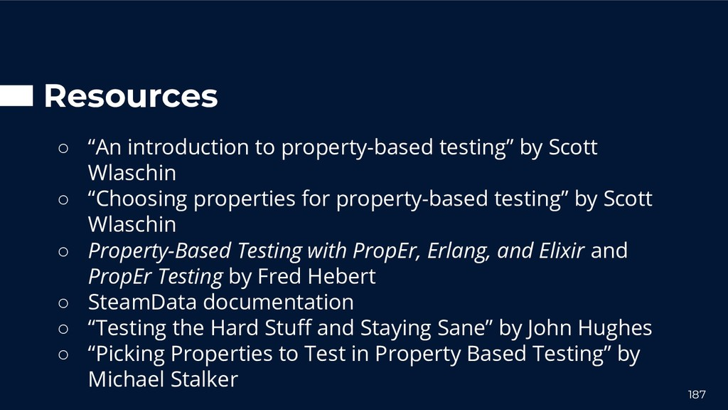 """Resources ○ """"An introduction to property-based ..."""