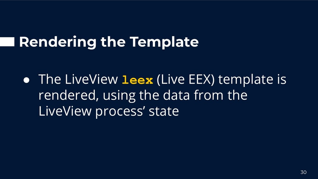 Rendering the Template ● The LiveView leex (Liv...