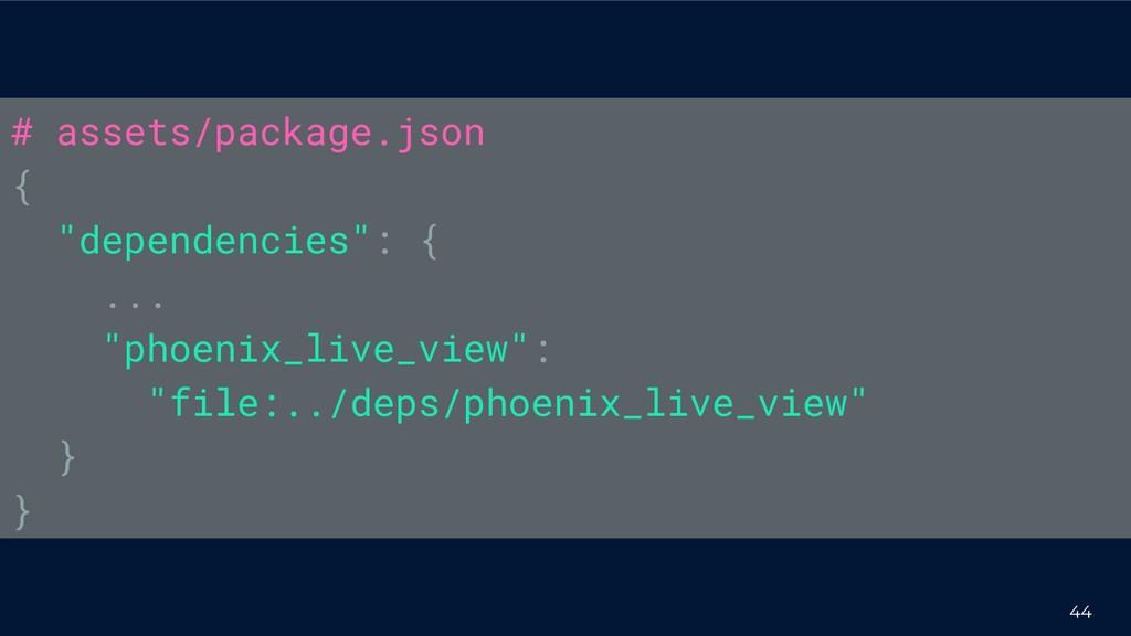 "44 # assets/package.json { ""dependencies"": { ....."
