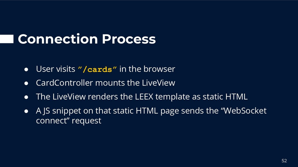 """Connection Process ● User visits """"/cards"""" in th..."""
