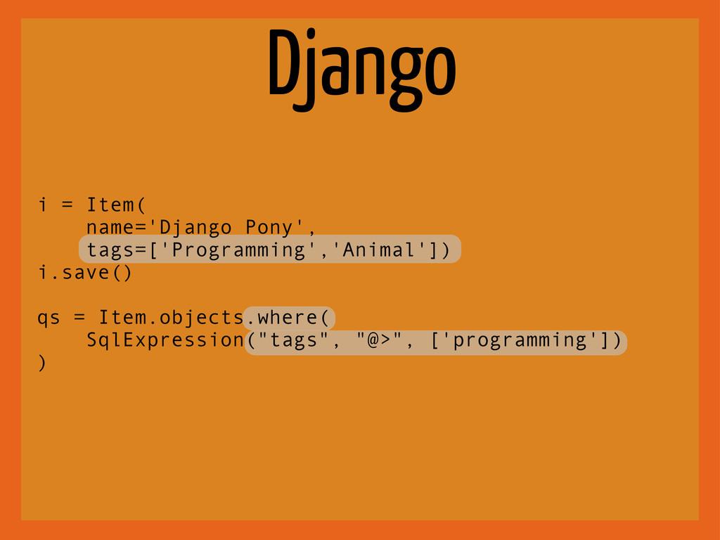 Django i = Item( name='Django Pony', tags=['Pro...