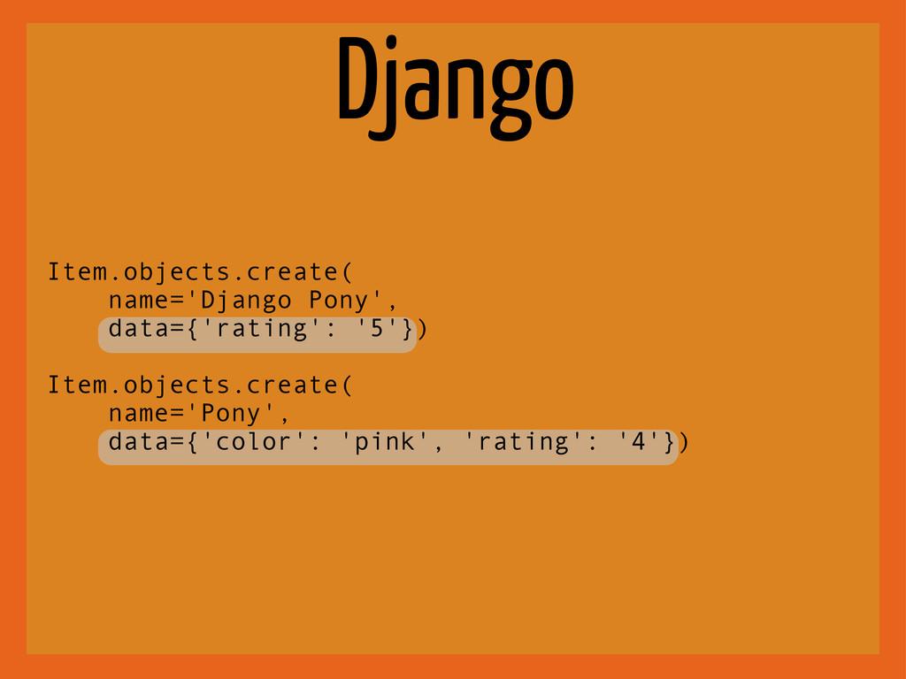 Django Item.objects.create( name='Django Pony',...