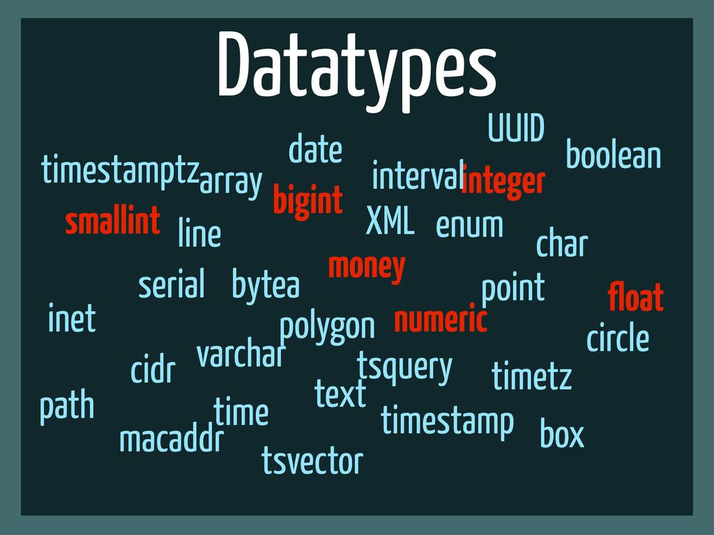 Datatypes smallint bigint integer numeric float...