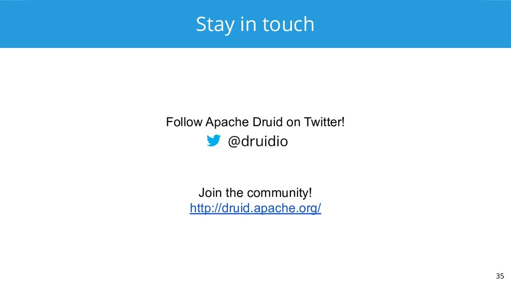 Stay in touch 35 @druidio Join the community! h...