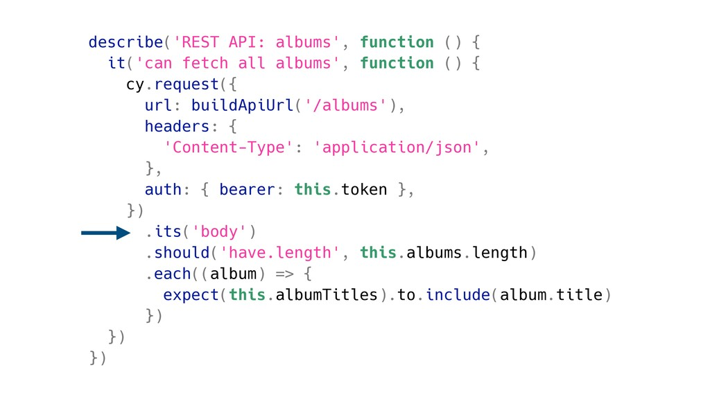 describe('REST API: albums', function () { it('...