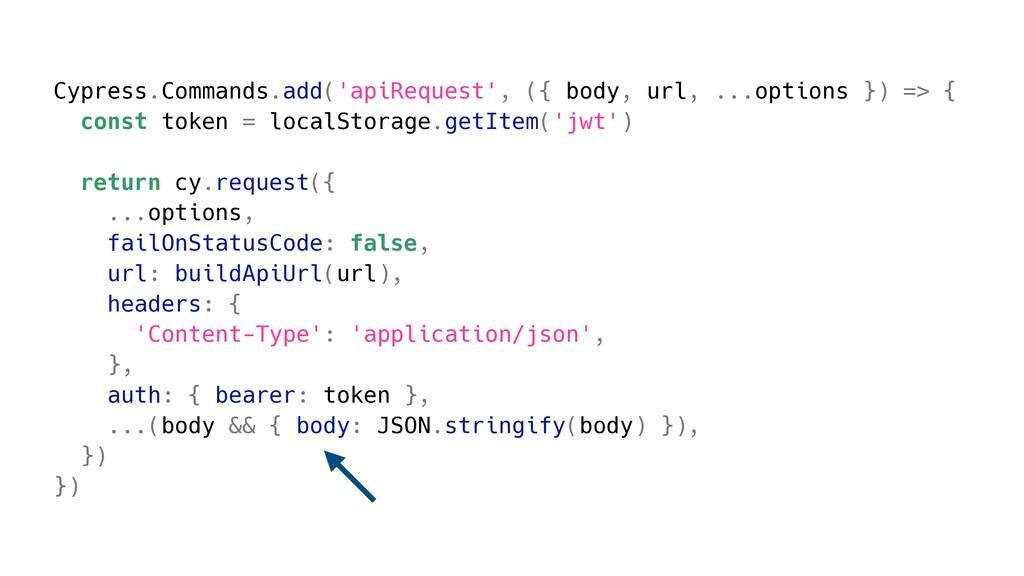 Cypress.Commands.add('apiRequest', ({ body, url...