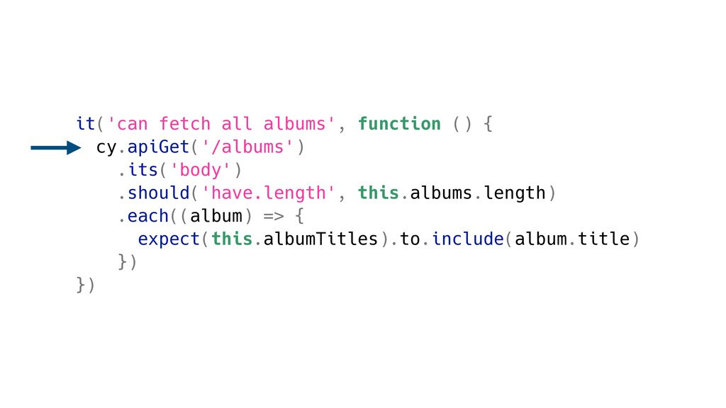 it('can fetch all albums', function () { cy.api...