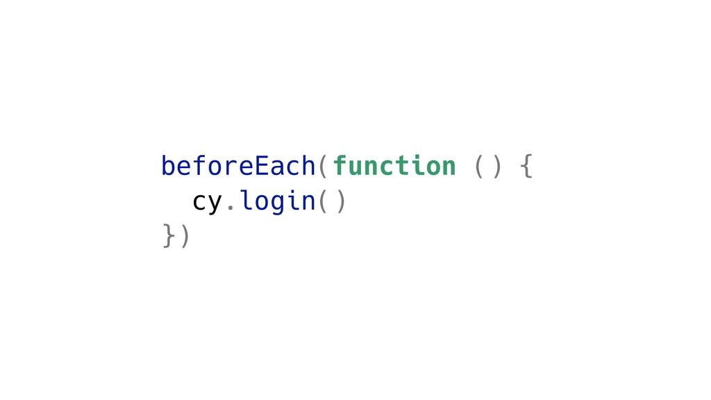 beforeEach(function () { cy.login() })