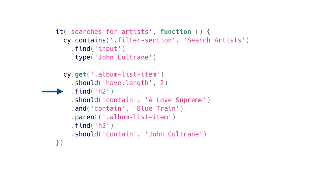 it('searches for artists', function () { cy.con...