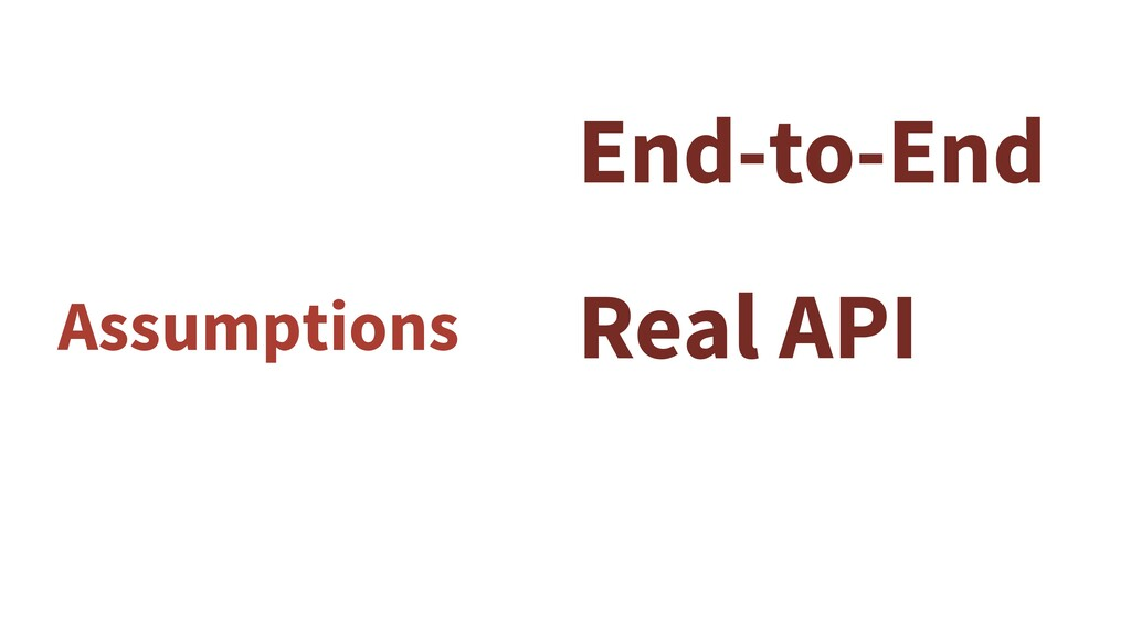 Assumptions End-to-End Real API