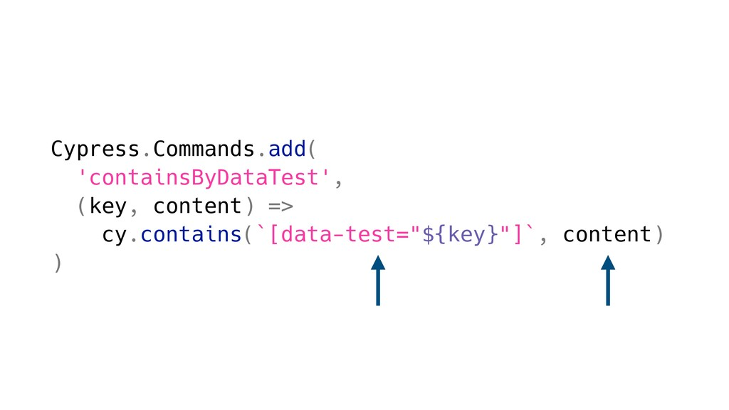 Cypress.Commands.add( 'containsByDataTest', (ke...