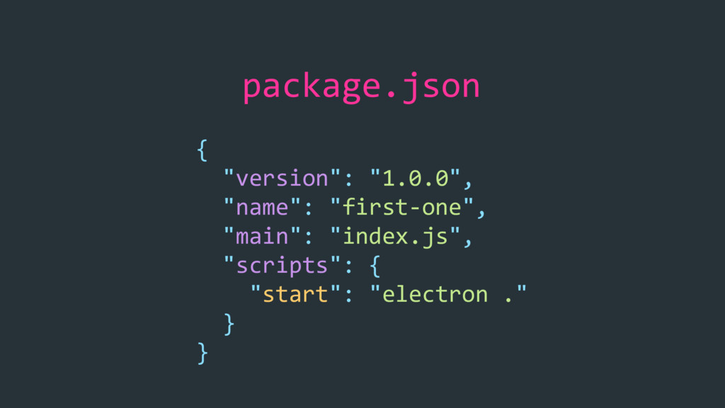 "package.json { ""version"": ""1.0.0"", ""name"": ""fir..."
