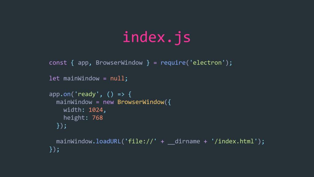 index.js const { app, BrowserWindow } = require...