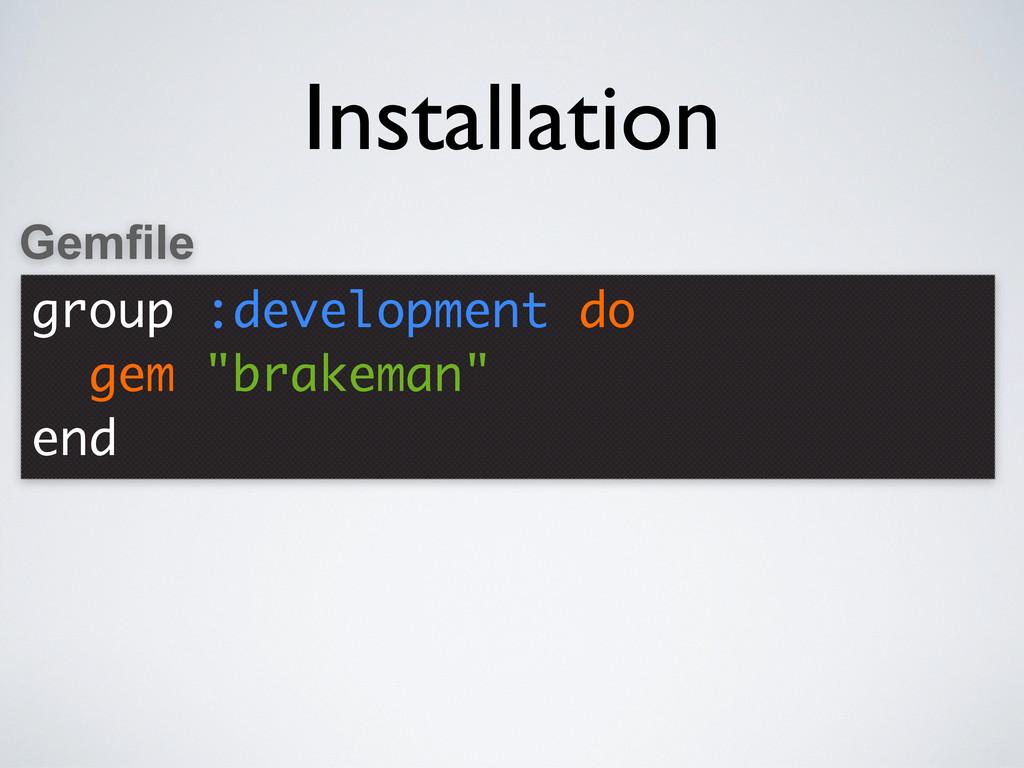 """group :development do gem """"brakeman"""" end Gemfil..."""