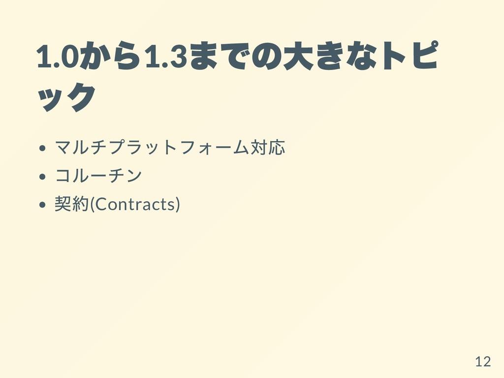 1.0 から 1.3 までの⼤きなトピ ック マルチプラットフォーム対応 コルーチン 契約(C...