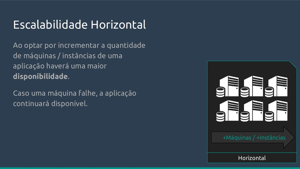 Escalabilidade Horizontal Horizontal +Máquinas ...