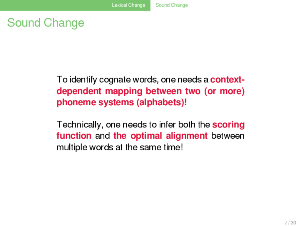 Lexical Change Sound Change Sound Change To ide...