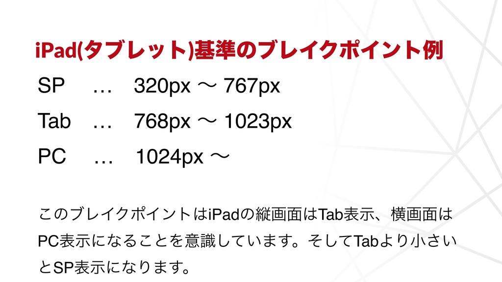 iPad(λϒϨοτ)ج४ͷϒϨΠΫϙΠϯτྫ SPɹ …ɹ320px ʙ 767px Tab...
