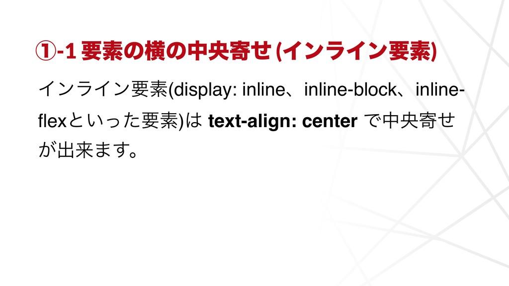 ᶃ-1 ཁૉͷԣͷதԝدͤ (ΠϯϥΠϯཁૉ) ΠϯϥΠϯཁૉ(display: inline...