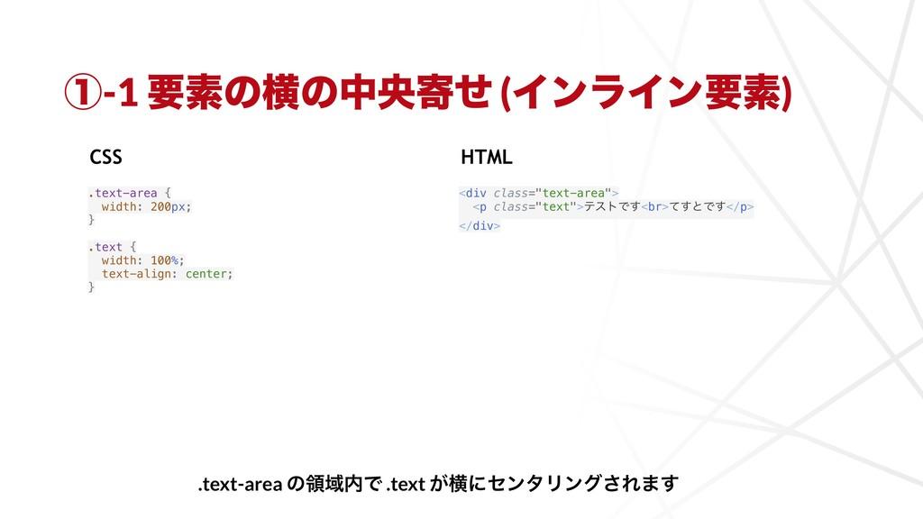 ᶃ-1 ཁૉͷԣͷதԝدͤ (ΠϯϥΠϯཁૉ) .text-area { width: 200...