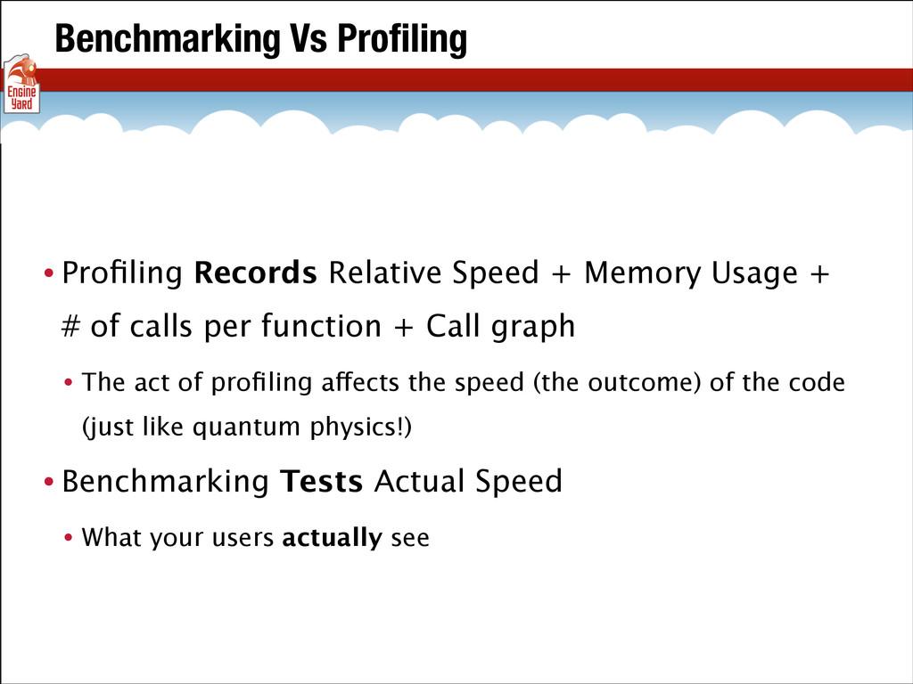Benchmarking Vs Profiling • Profiling Records Rel...