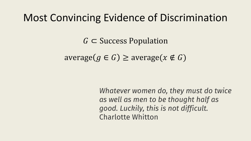 Most Convincing Evidence of Discrimination aver...