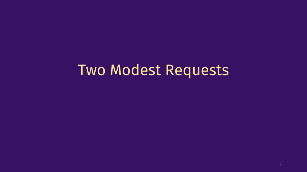 Two Modest Requests 25