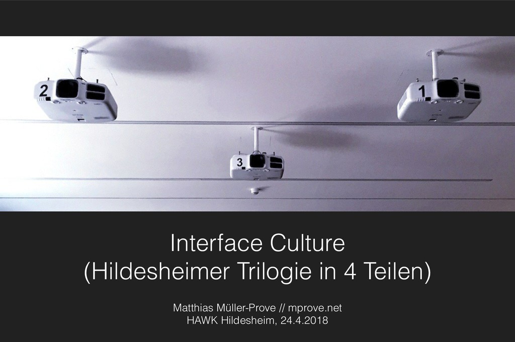 Interface Culture (Hildesheimer Trilogie in 4 T...