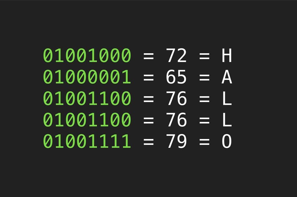 01001000 = 72 = H 01000001 = 65 = A 01001100 = ...