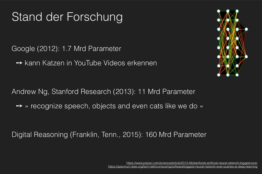 Stand der Forschung Google (2012): 1.7 Mrd Para...