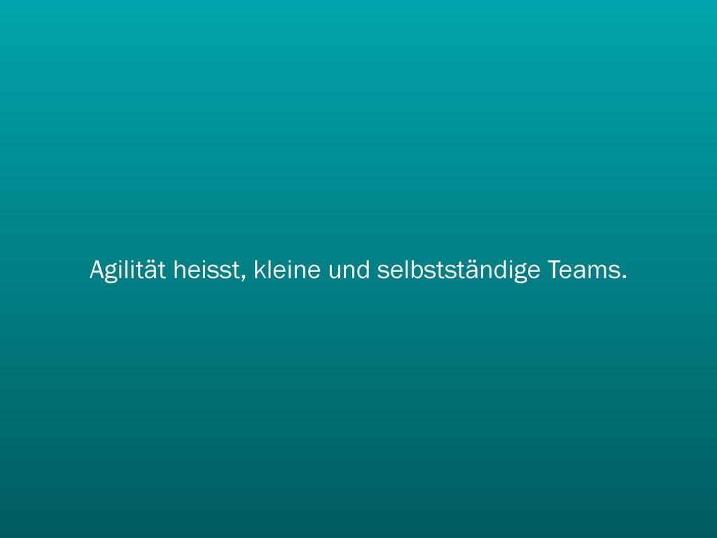 Agilität heisst, kleine und selbstständige Team...