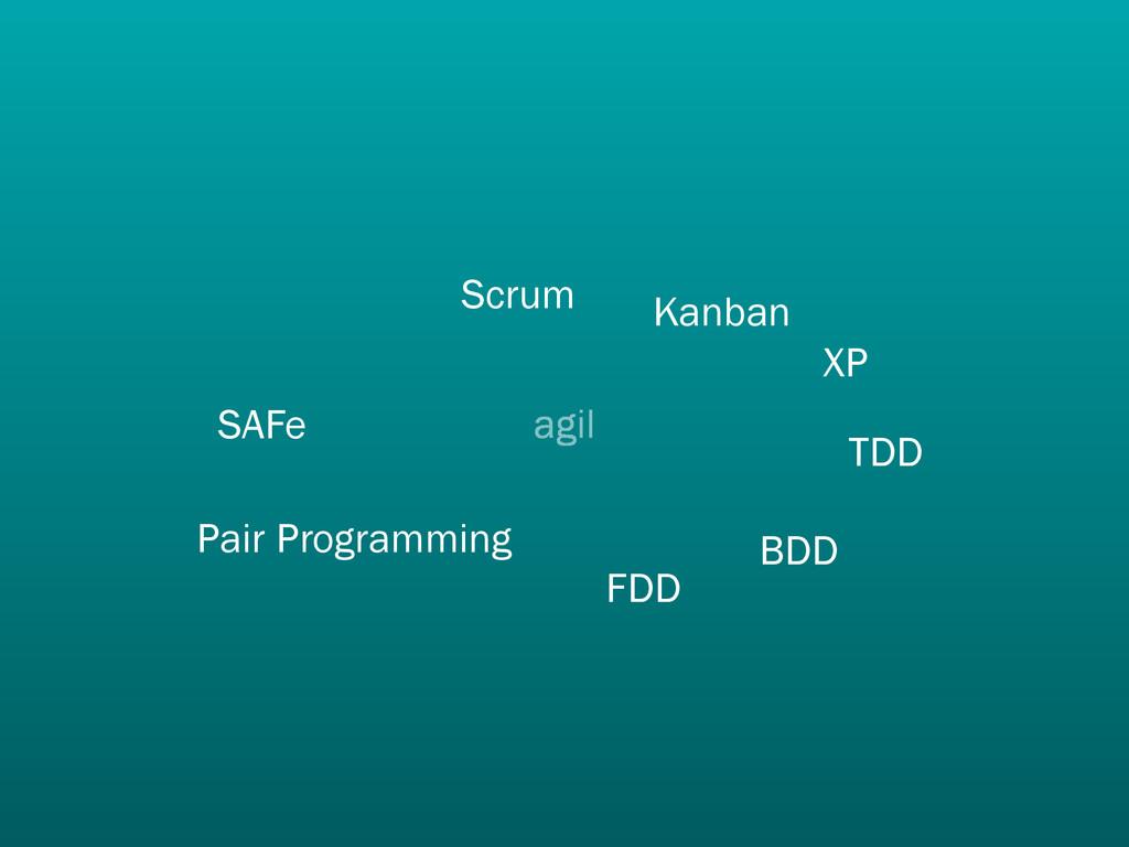 agil Scrum XP TDD Pair Programming SAFe FDD BDD...