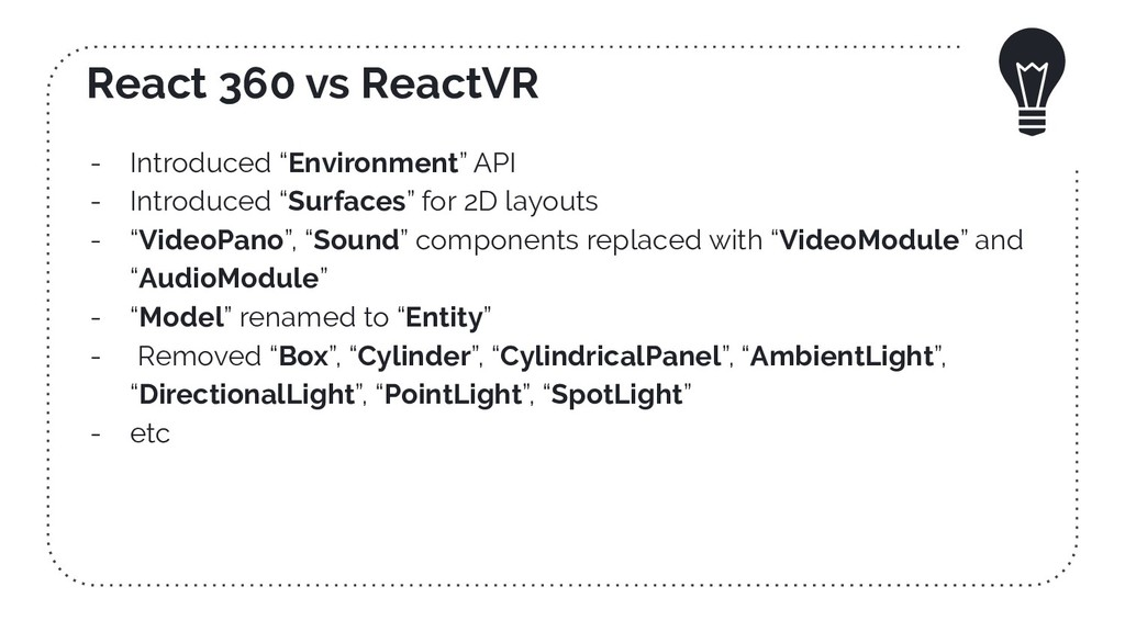 "React 360 vs ReactVR - Introduced ""Environment""..."