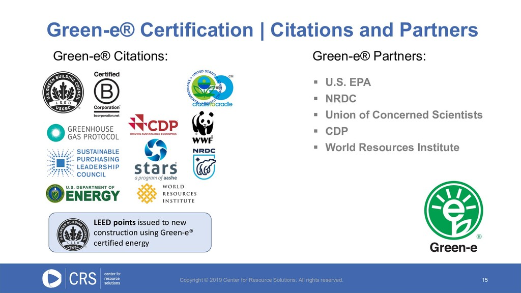 Green-e® Certification | Citations and Partners...