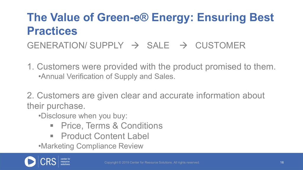 The Value of Green-e® Energy: Ensuring Best Pra...