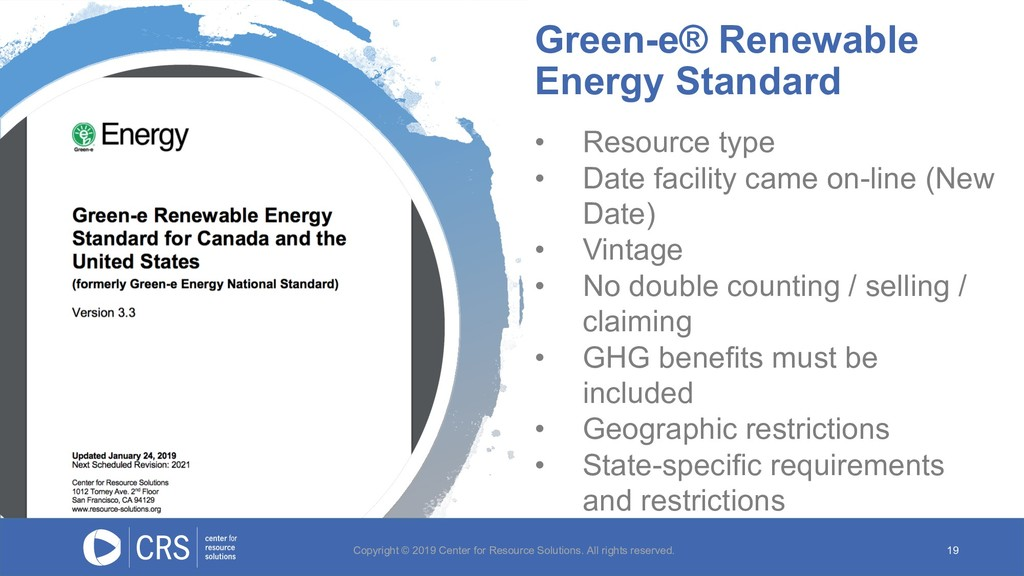 Green-e® Renewable Energy Standard 19 • Resourc...