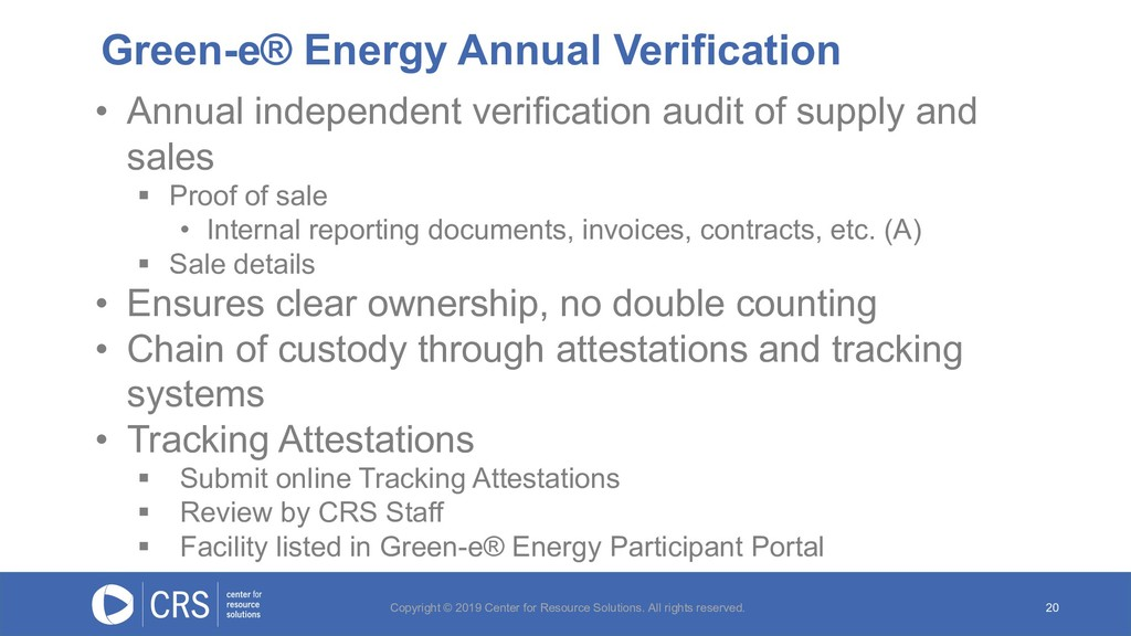Green-e® Energy Annual Verification 20 • Annual...